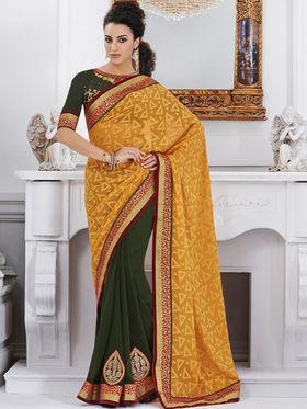 Bahubali Jacquard Embroidered Saree - Yellow - GA.50220