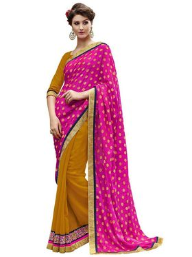 Bahubali Viscose Jacquard-Georgette Embroidered Saree - Pink And Yellow