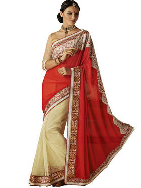 Bahubali Faux Georgette Embroidery Saree - Pink_HT.52215