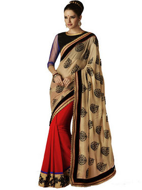 Bahubali Georgette Embroidery Saree - Cream_HT.52228