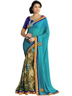 Bahubali Georgette Embroidered Saree - Blue