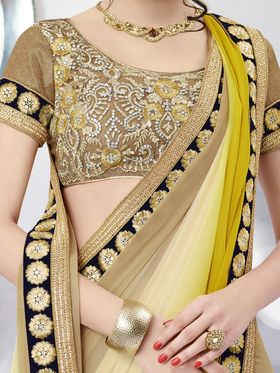 Bahubali Georgette Embroidered Saree - Cream And Green