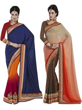 Lavishing Pack of 2 Heavy Embroidered Sarees - By Bahubali