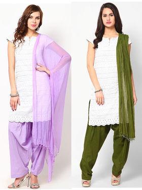 Combo of 2 Arisha Cotton Solid Salwar And Dupatta Set-CMBB15