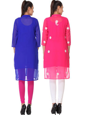 Pack of 2 Lavennder Embroidered Georgette Kurti -la07