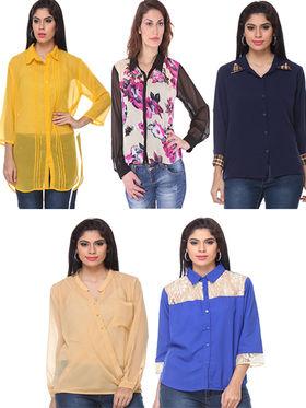 Combo of 5 Lavennder Georgette Crepe Solid & Printed Ladies Shirts-la05
