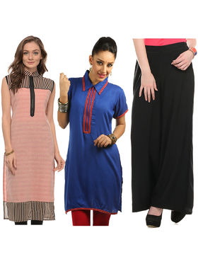 Pack of 2 Lavennder Zipper Kurti and 1 Palazzo Pant -lca01