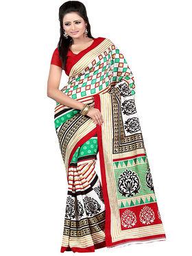 Carah Art Silk Printed Saree - Multicolor - CRH-N226