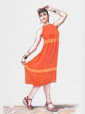 Viva N Diva Viscose Chiffon Printed Kurtis -Chisel-35