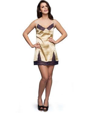 Set of 2 Clovia Blended Plain Nightwear - Golden