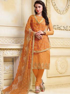 Viva N Diva Banarasi Chanderi Jacquard Embroidered Unstitched Suit Color-Blossom-03-1046
