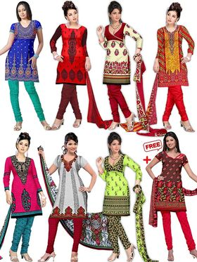 Pack of 7 Adah Fashions Printed American Crepe Multicolor Unstitched Dress Material-ad01