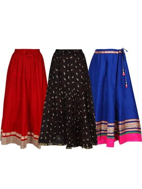 Pack of 3 Amore Embellished� & Printed Cotton Skirt -sk01