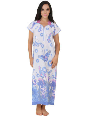 Fasense Shinker Cotton Floral Print Nightwear Long Nighty -DP150C1