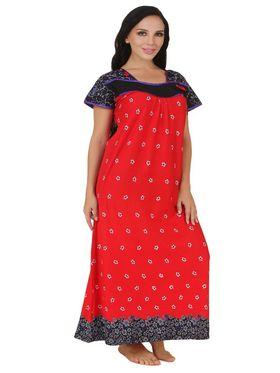Fasense Shinker Cotton Floral Print Nightwear Long Nighty -DP151A1