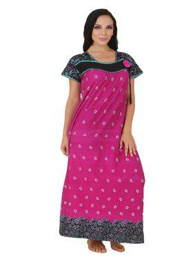 Fasense Shinker Cotton Floral Print Nightwear Long Nighty -DP151C1