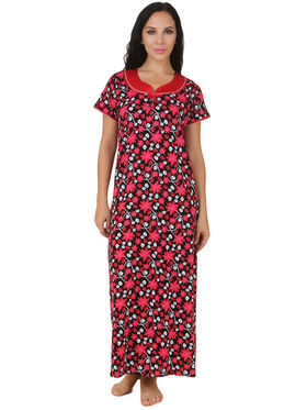 Fasense Shinker Cotton Floral Print Nightwear Long Nighty -DP159B1