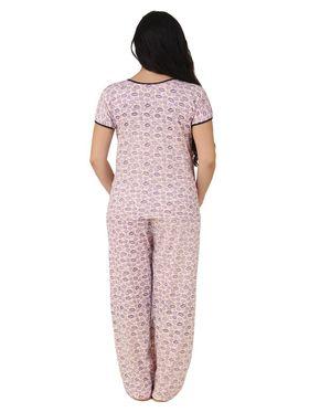 Fasense Shinker Cotton Printed Nightwear Set of Top & Pyjama -DP162A1