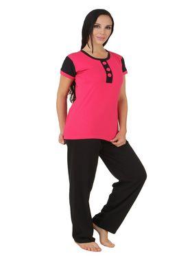 Fasense Shinker Cotton Solid Print Nightwear Set of Top & Pyjama -DP164C1
