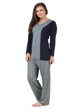 Fasense Shinker Cotton Solid Printed Nightwear Set of Top & Pyjama -DP172C1