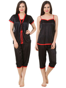 Fasense Satin Solid Nightwear Set of 3 pc of Wrap Gown Top & Capry -DP176B2