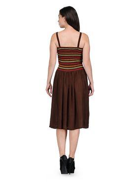 Arisha Viscose Solid Dress DRS1016_Brwn