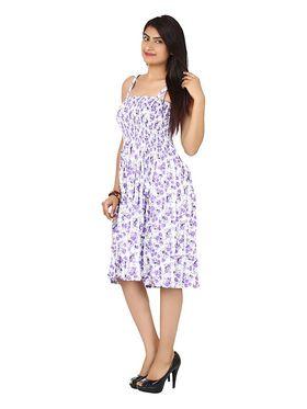 Arisha Cotton Printed Dress DRS1017_Wht-Prpl
