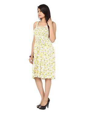 Arisha Cotton Printed Dress DRS1017_Wht-Ylw