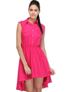 Arisha Viscose Solid Dress DRS1023_Pnk