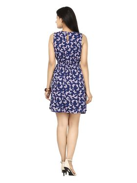 Arisha Crepe Printed Dress DRS1045Blu-M