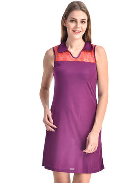 Arisha Viscose Solid Dress DRS1071_Rd-Prpl