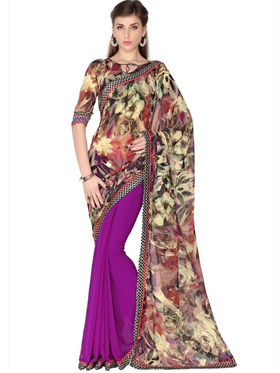 Designersareez Faux Georgette Digital Print Saree - Multicolor & Violet