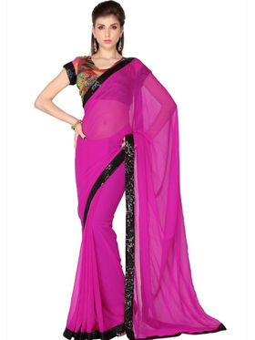 Designersareez Faux Georgette Embroidered Saree - Pink