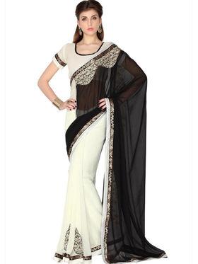 Designersareez Faux Georgette Embroidered Saree - Black & White