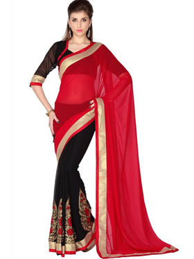Designersareez Faux Georgette Embroidered Saree - Red & Black - 1768