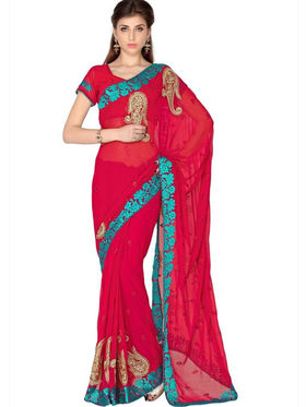Designersareez Faux Georgette Embroidered Saree - Red - 1772