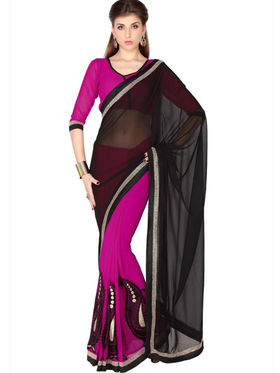 Designersareez Faux Georgette Embroidered Saree - Black & Magenta