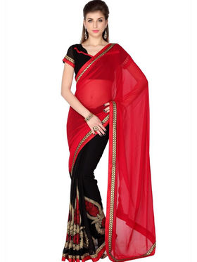 Designersareez Faux Georgette Embroidered Saree - Red & Black - 1802