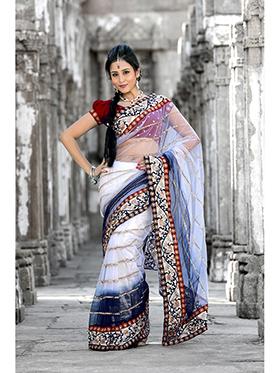 Embroidered Net Saree - White & Dark Blue