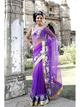 Embroidered Net Saree - Purple