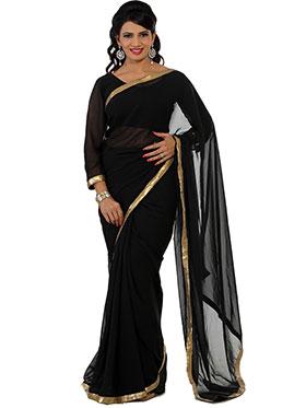 Designer Sareez Plain Faux Georgette Saree - Black