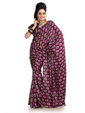 Printed Khadi Silk Saree - Wine