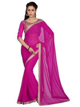 Designer Sareez Faux Georgette Embroidered Saree - Magenta - 1629