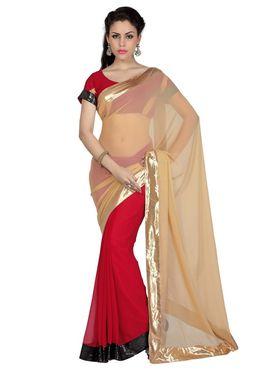 Designer Sareez Chiffon Embroidered Saree - Beige & Red - 1646