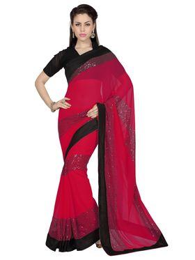 Designer Sareez Faux Georgette Embroidered Saree - Red - 1683