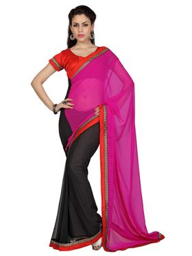 Designer Sareez Faux Georgette Embroidered Saree - Magenta & Black - 1689