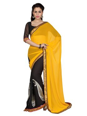 Designer Sareez Faux Georgette Embroidered Saree - Yellow & Black - 1693