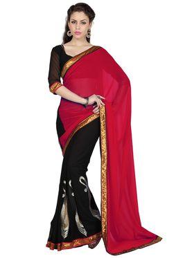 Designer Sareez Faux Georgette Embroidered Saree - Red & Black - 1694