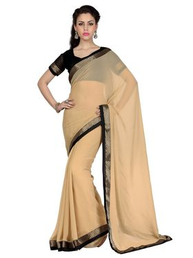 Designer Sareez Faux Georgette Embroidered Saree - Beige - 1702