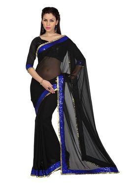 Designer Sareez Chiffon Embroidered Saree - Black - 1703